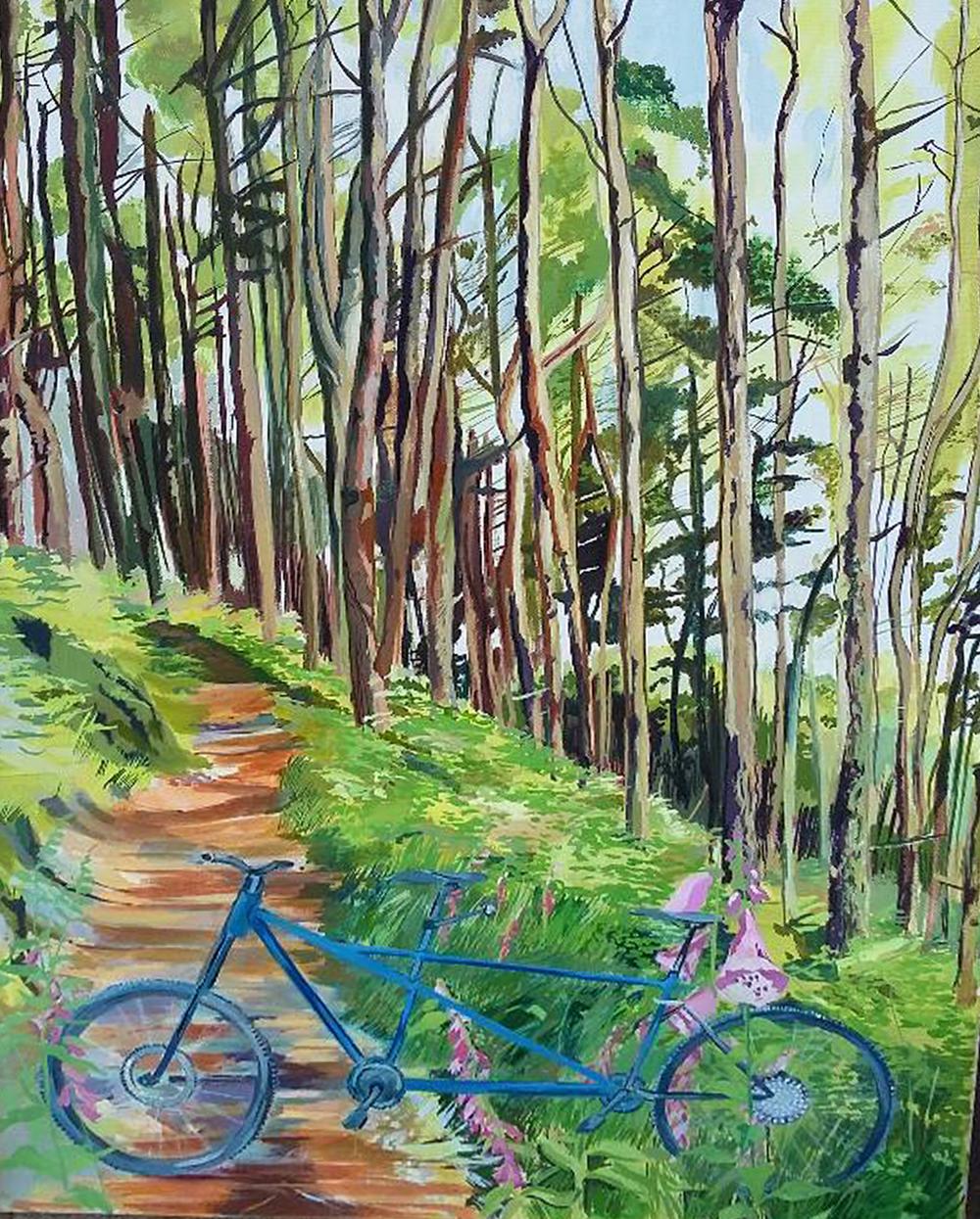 Tandem mountain bike in Welsh wood